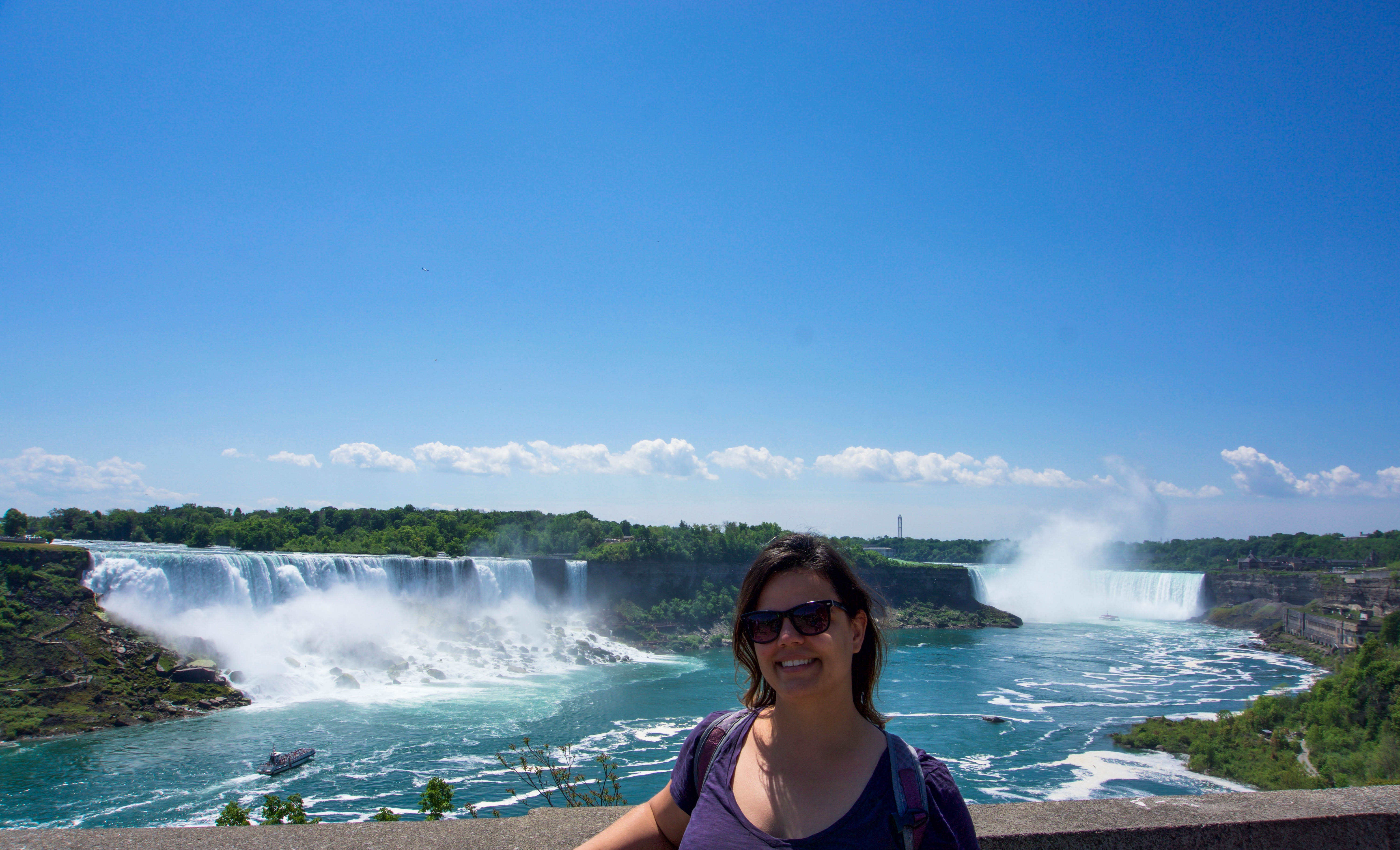 Enjoying the views of the falls from Canada