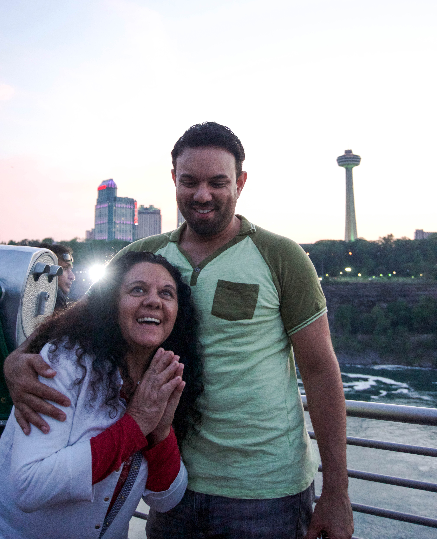 Mom at the edge of Niagara Falls