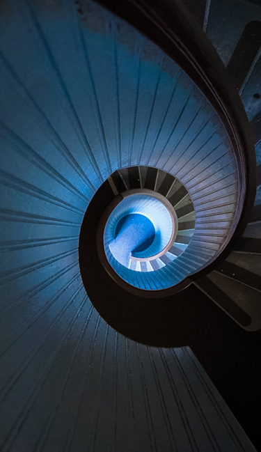 Spiral staircase leading to the top of the lighthouse