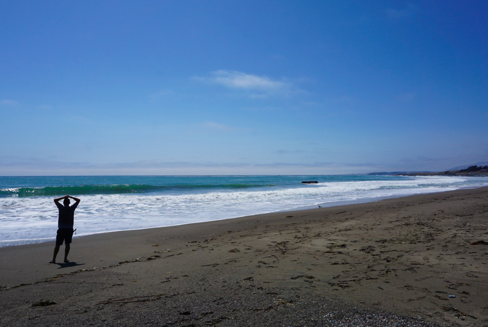 Manu taking in the beauty of the beach- Big Sur