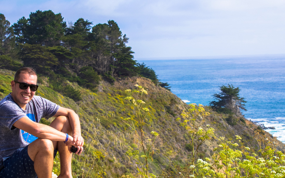 Manu happy for the sun to reappear- Big Sur