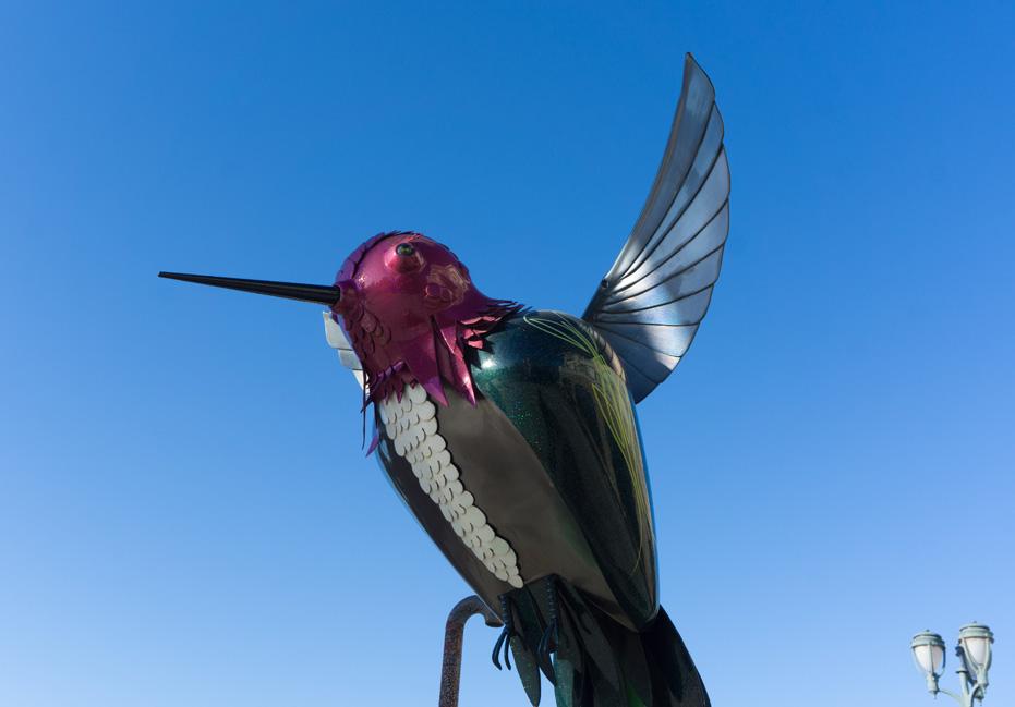 Hummingbirds everywhere!- bird sculpture