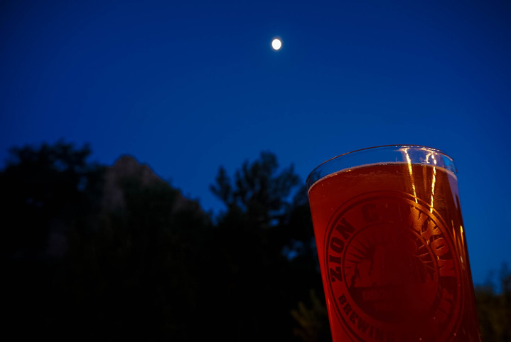 Stopping for a brew under the night's sky at Zion Canyon Brewing Company