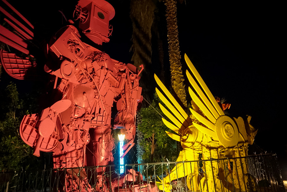Robo Lights Sculptures in Palm Springs - A treat when lit up during the holidays... We're coming back for you Palm Springs!